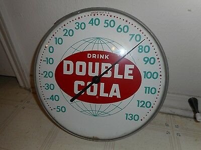 Vintage Double Cola Bubble Glass Thermometer Excellent