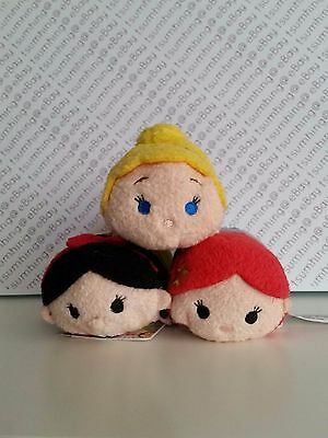NWT Japan Disney Store Cinderella Ariel Snow White Princess Tsum Tsum Set of 3