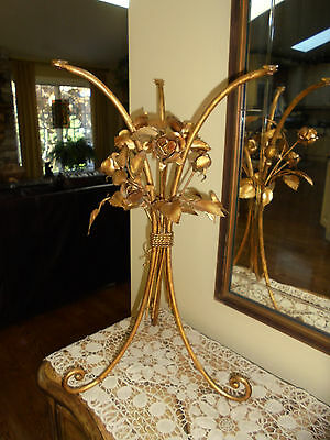 Vintage Mid Century Italian Gold Gilt Tole Side Table With Roses and Leaves