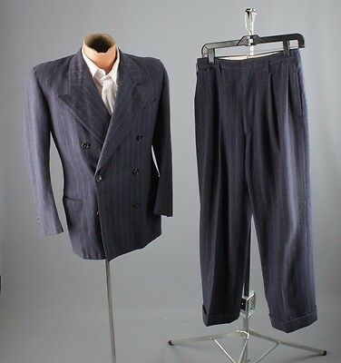 Vtg 40s Wool Blue Pinstripe Double Breasted Suit Jacket sz S Pants 28x26 #3101