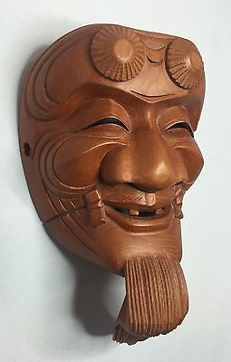 Noh Kabuki Okina Miniature Japanese Hand Carved Wood Mask Artist Signed - Japan