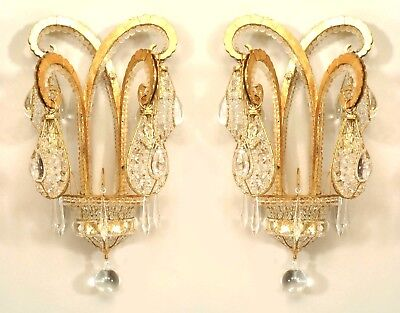 "French Art Deco Style Gilt Metal & Beaded Glass ""Octopus"" Wall Sconces"