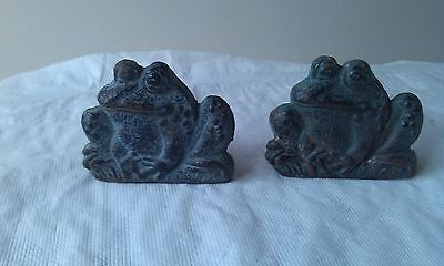 Metal Frogs Pair Signed