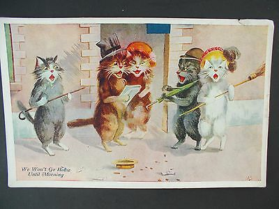 Antique Postcard 5 Cats Singing Comical Divided back, Artists Initials