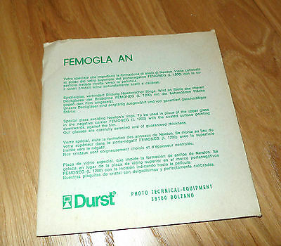 DURST FEMOGLA AN ANTI NEWTON GLASS for FEMONEG Negative Carrier DURST L-1200 NOS