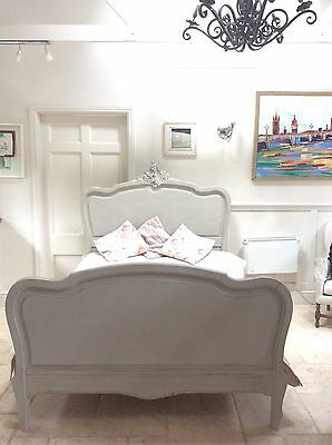 """Antique French Mahogany Double 4'6"""" Bed Frame Louis XV Style Painted Grey"""