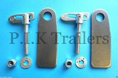 2 x Anti Luce M12 x 75mm Drop Catch Fasteners & XL Eye PLATES for Trailers