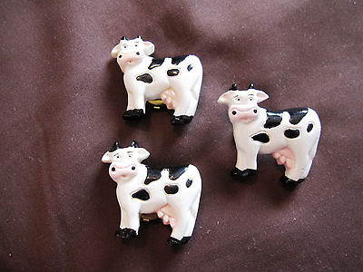 Vintage Dairy Cow Button Covers and Pin/Brooch