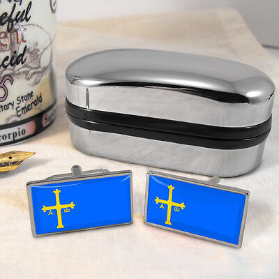 Asturias Flag Cufflinks & Box