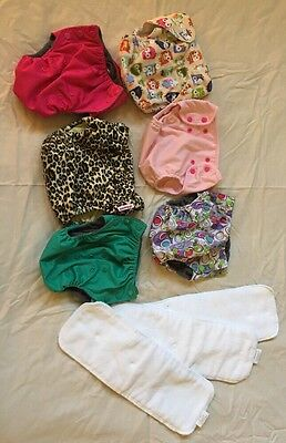 Cloth Diaper Lot Baby Girls -6 M/ L Diaper Covers-  3 Liners Snaps Adjustable