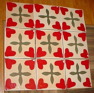 "Lot 9 Antique 1800's Primitive 13.5"" Applique Quilt Blocks CHRISTMAS Red/Green"