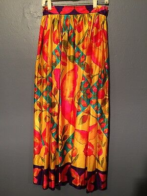 Vintage 70s Novelty Tulip & Butterfly Colorful Maxi Skirt Hippie Boho