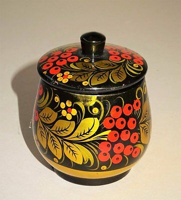Vintage Small Wooden Lidded Pot *KHOKHLOMA - RUSSIAN FOLK ART* made in U.S.S.R.