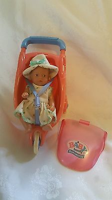 "Baby Born DOLL & PRAM Bulk Miniworld Mini world Lot x2 1990s VINTAGE 4"" Zapf"