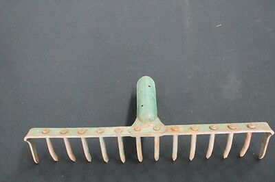 vintage rustic primitive  green iron metal rake garden wine rack