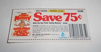 Vintage General Mills Fruity Yummy Mummy Cereal Manufacturer Coupon 1989
