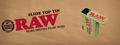 RAW Sliding Top Cigarette Case Tin + Free Pack of Raw King Size Skins & Tips