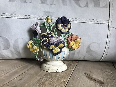 Great Old Hubley Cast Iron Pansy Flowers Bouquet in Bowl Doorstop