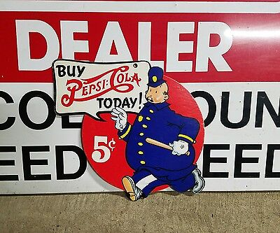 Original 1950's Pepsi Cola Police Officer 5c Cardboard Store display doublesided
