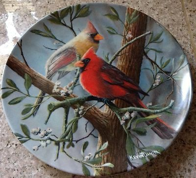 "8.5"" Bradford Exchange Collector Plate THE CARDINAL Birds Knowles BOX COA"