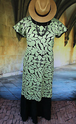 Pale Green & Black Hand Embroidered Huipil Dress Jalapa Oaxaca Mexico Hippie