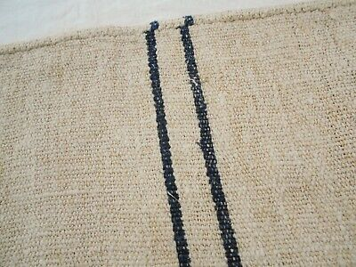 RARE 19x60 Vtg Antique BLACK STRIPE FRENCH HEMP LINEN Fabric FEED SACK GRAIN BAG