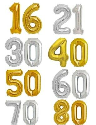 MILESTONE BIRTHDAY Foil Helium Party Decorations GOLD SILVER 18 21 30 40 50 60