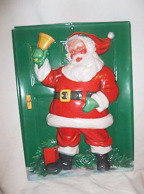 vintage 3d plastic molded santa christmas decoration wall hanging