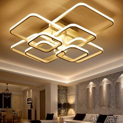 Modern Square Circel Rings Pendant Light Ceiling Lamp Dinner Room Lighting