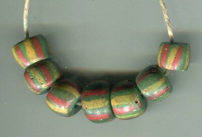 African Trade beads Vintage Venetian glass beads nice old striped green
