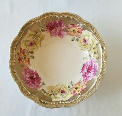Antique Three Crown China Serving Bowl Germany Hand Painted Pink Roses Gold