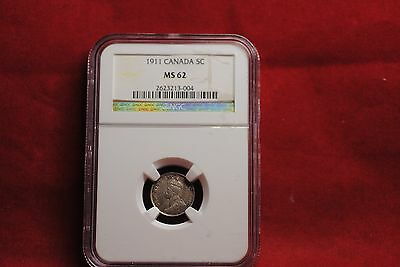 Canada silver five cents: 1911 MS 62 NGC
