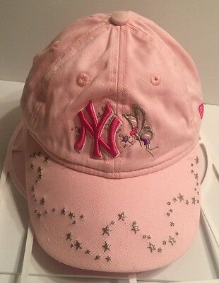 New York YANKEES-FAIRY Kids/Girls Hat Cap Adjustable Pink With Silver Stars