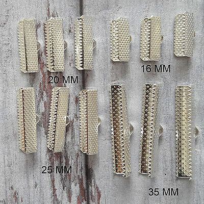 20 x Silver Plated Choker Crimp Ends Cord Ends Textured Ribbon Bracelet Clamps