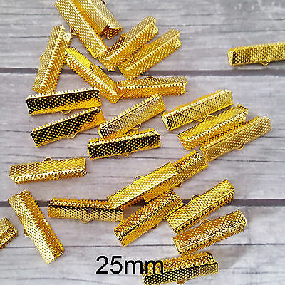 20 x 25mm Gold Toned Choker Crimp Ends Cord Ends Textured Ribbon Bracelet Clamps
