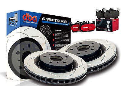 DBA T2 Slotted Front Rotors & Brembo Pads COMMORDORE VE VF V8 355mm REDLINE