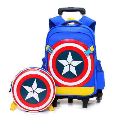 Kids Boys Wheels Backpack Blue Bag Luggage Rolling School Book Pack Trolley Bags