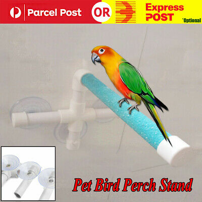 Pet Birds Wall Suction Cup Toys Paw Grinding Stand Shower Perches Parrot Budgie