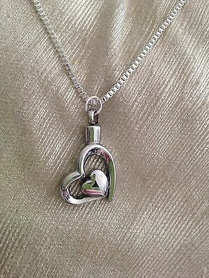 Cremation Jewellery Necklace Heart Urn - Sympathy Bereavement Gift