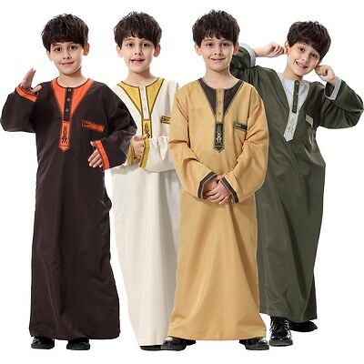 Boys Kids Boy Saudi Style Thobe Thoub Robe Islamic Arabian Kaftan Long Dress
