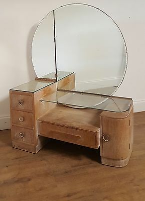 vintage retro midcentury rare 1930s limed oak dressing table by Bowman brothers