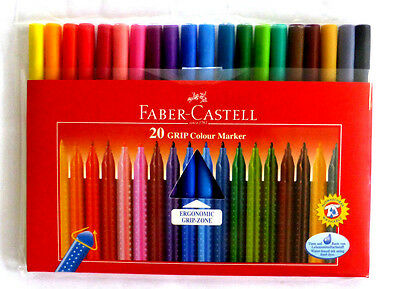 Faber Castell 20 Stück Grip Colour Marker Ergonomic Grip-Zone