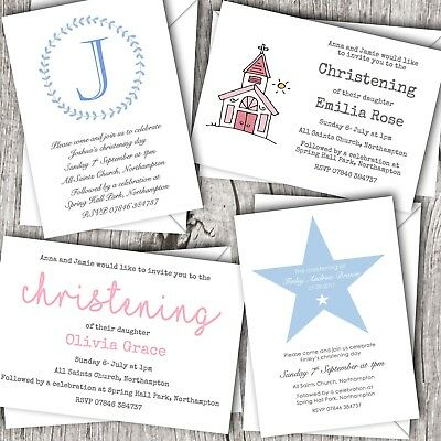 Christening Invitations Personalised ~ Baptism / Naming Day ~ Boy & Girl Designs