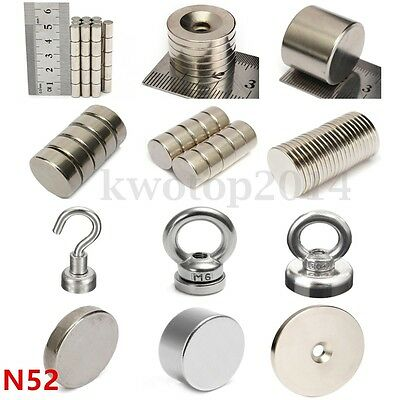 Multi-Size Grade N52 Round Disc Ring Hole Magnets Strong Neodymium Rare Earth US
