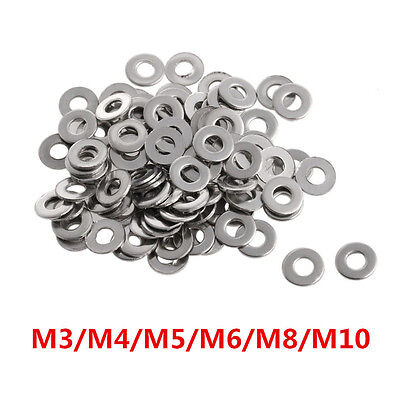 100Pcs M3-M10 Stainless Steel Metric Flat Washers for Bolts Screws Fastened NR