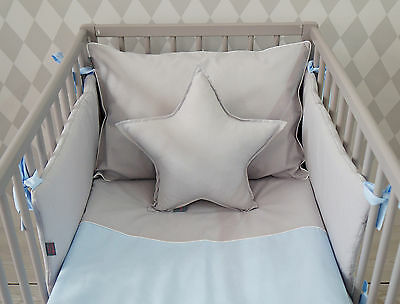 **NEW LUXURY BABY BOY BEDDING SET for COT/BED - BABY BLUE and GREY + CUTE STAR