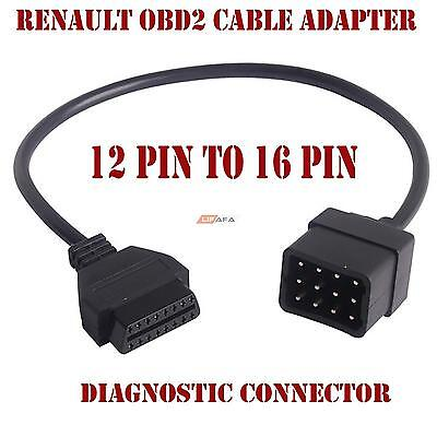12PIN to 16PIN OBD2 Cable Adapter Car Diagnostic Connector for RENAULT UK