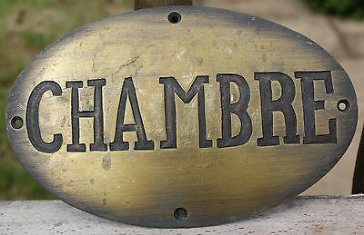 Old French Brass Hotel Door Plaque | French Chambre Sign | Door Plaque (2 Of 2)