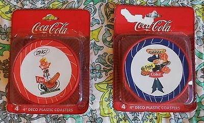 Lot of 2 NEW Sets of Coca Cola VTG Reproduction Art Deco Drink Coasters 4 Each