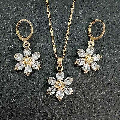 Gold Plated White Cubic Zirconia Flower Necklace And Earrings Set